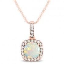 Opal & Diamond Halo Cushion Pendant Necklace 14k Rose Gold (1.55ct)