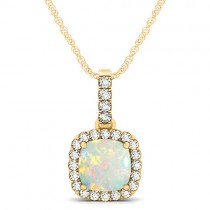 Opal & Diamond Halo Cushion Pendant Necklace 14k Yellow Gold (1.55ct)
