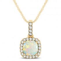 Opal & Diamond Halo Cushion Pendant Necklace 14k Yellow Gold (1.55ct)
