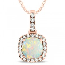 Opal & Diamond Halo Cushion Pendant Necklace 14k Rose Gold (4.05ct)