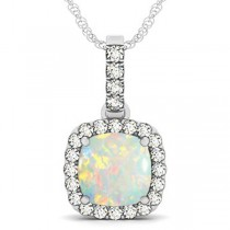 Opal & Diamond Halo Cushion Pendant Necklace 14k White Gold (4.05ct)