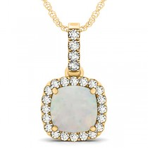 Opal & Diamond Halo Cushion Pendant Necklace 14k Yellow Gold (4.05ct)