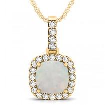 Opal & Diamond Halo Cushion Pendant Necklace 14k Yellow Gold (4.05ct)