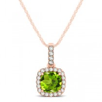 Peridot & Diamond Halo Cushion Pendant Necklace 14k Rose Gold (0.75ct)