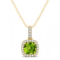 Peridot & Diamond Halo Cushion Pendant Necklace 14k Yellow Gold (0.75ct)