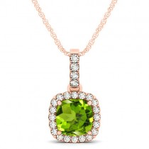 Peridot & Diamond Halo Cushion Pendant Necklace 14k Rose Gold (1.66ct)