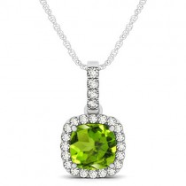 Peridot & Diamond Halo Cushion Pendant Necklace 14k White Gold (1.66ct)