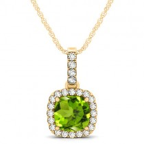 Peridot & Diamond Halo Cushion Pendant Necklace 14k Yellow Gold (1.66ct)