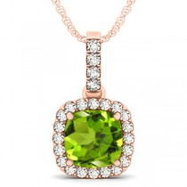 Peridot & Diamond Halo Cushion Pendant Necklace 14k Rose Gold (4.05ct)