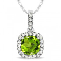 Peridot & Diamond Halo Cushion Pendant Necklace 14k White Gold (4.05ct)