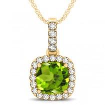 Peridot & Diamond Halo Cushion Pendant Necklace 14k Yellow Gold (4.05ct)