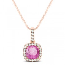 Pink Sapphire & Diamond Halo Cushion Pendant Necklace 14k Rose Gold (0.85ct)