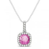 Pink Sapphire & Diamond Halo Cushion Pendant Necklace 14k White Gold (0.85ct)