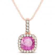Pink Sapphire & Diamond Halo Cushion Pendant Necklace 14k Rose Gold (1.94ct)