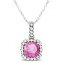 Pink Sapphire & Diamond Halo Cushion Pendant Necklace 14k White Gold (1.94ct)