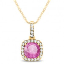Pink Sapphire & Diamond Halo Cushion Pendant Necklace 14k Yellow Gold (1.94ct)