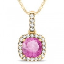 Pink Sapphire & Diamond Halo Cushion Pendant Necklace 14k Yellow Gold (4.05ct)