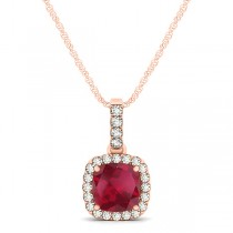 Ruby & Diamond Halo Cushion Pendant Necklace 14k Rose Gold (0.85ct)