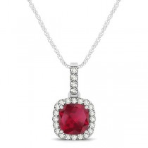 Ruby & Diamond Halo Cushion Pendant Necklace 14k White Gold (0.85ct)