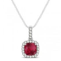 Ruby & Diamond Halo Cushion Pendant Necklace 14k White Gold (0.85ct)