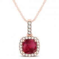 Ruby & Diamond Halo Cushion Pendant Necklace 14k Rose Gold (1.94ct)