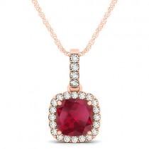 Ruby & Diamond Halo Cushion Pendant Necklace 14k Rose Gold (1.94ct)