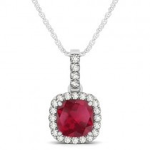 Ruby & Diamond Halo Cushion Pendant Necklace 14k White Gold (1.94ct)