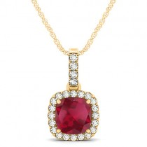 Ruby & Diamond Halo Cushion Pendant Necklace 14k Yellow Gold (1.94ct)