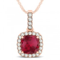 Ruby & Diamond Halo Cushion Pendant Necklace 14k Rose Gold (4.05ct)