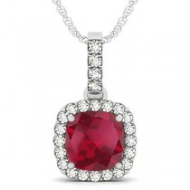 Ruby & Diamond Halo Cushion Pendant Necklace 14k White Gold (4.05ct)