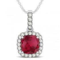 Ruby & Diamond Halo Cushion Pendant Necklace 14k White Gold (4.05ct)