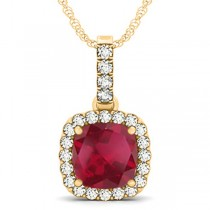 Ruby & Diamond Halo Cushion Pendant Necklace 14k Yellow Gold (4.05ct)