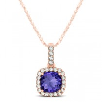 Tanzanite & Diamond Halo Cushion Pendant Necklace 14k Rose Gold (0.74ct)