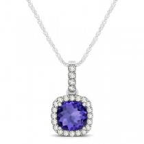 Tanzanite & Diamond Halo Cushion Pendant Necklace 14k White Gold (0.74ct)