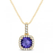 Tanzanite & Diamond Halo Cushion Pendant Necklace 14k Yellow Gold (0.74ct)