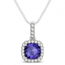 Tanzanite & Diamond Halo Cushion Pendant Necklace 14k White Gold (1.94ct)