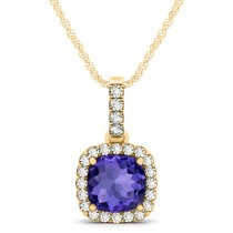 Tanzanite & Diamond Halo Cushion Pendant Necklace 14k Yellow Gold (1.94ct)