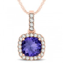 Tanzanite & Diamond Halo Cushion Pendant Necklace 14k Rose Gold (4.05ct)