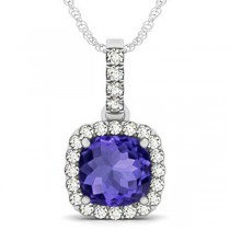 Tanzanite & Diamond Halo Cushion Pendant Necklace 14k White Gold (4.05ct)