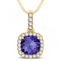 Tanzanite & Diamond Halo Cushion Pendant Necklace 14k Yellow Gold (4.05ct)