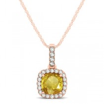 Yellow Sapphire & Diamond Halo Cushion Pendant Necklace 14k Rose Gold (0.85ct)