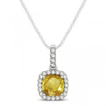 Yellow Sapphire & Diamond Halo Cushion Pendant Necklace 14k White Gold (0.85ct)