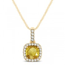 Yellow Sapphire & Diamond Halo Cushion Pendant Necklace 14k Yellow Gold (0.85ct)