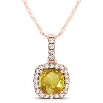 Yellow Sapphire & Diamond Halo Cushion Pendant Necklace 14k Rose Gold (1.94ct)