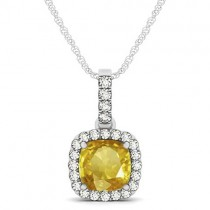 Yellow Sapphire & Diamond Halo Cushion Pendant Necklace 14k White Gold (1.94ct)