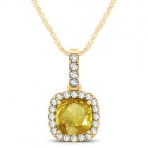 Yellow Sapphire & Diamond Halo Cushion Pendant Necklace 14k Yellow Gold (1.94ct)