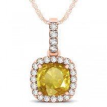 Yellow Sapphire & Diamond Halo Cushion Pendant Necklace 14k Rose Gold (4.05ct)