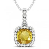 Yellow Sapphire & Diamond Halo Cushion Pendant Necklace 14k White Gold (4.05ct)