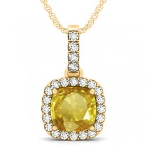 Yellow Sapphire & Diamond Halo Cushion Pendant Necklace 14k Yellow Gold (4.05ct)