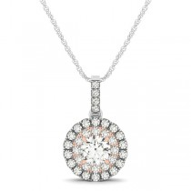 Double Halo Round Diamond Pendant Necklace 14k Two Tone Gold (1.08ct)